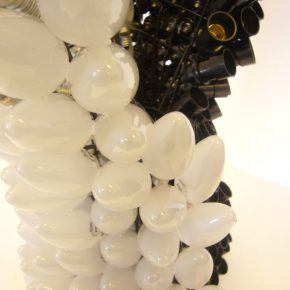 "21 Lyu Yue, ""Yin and Yang, Day and Night"" No.2 (detail), 2010; Glass bulb, plastic lamp mouth, wire, 45CM X 40CM X 55CM"