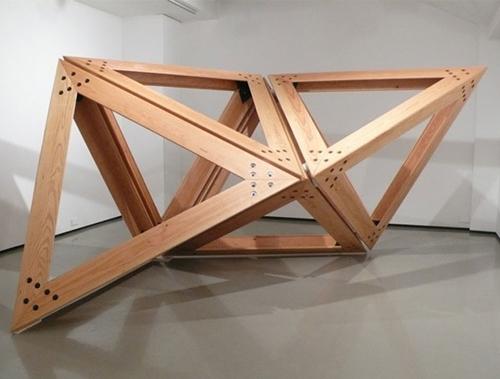 Conrad Shawcross, Off Cut Axiom, 2009; Douglas fir, steel, 600x400x250cm