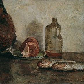 Ma Xiaoteng, Fish and Meat, 56.5×62.5cm; Oil on Canvas, 1991