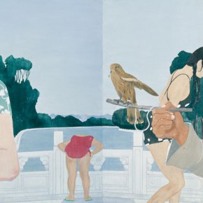 Ma Xiaoteng, Sparrow Hawk; Acrylic on Canvas, 120cm×300cm, 2012