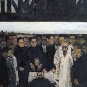 Ma Xiaoteng, The Death of Lu Xun, Oil on Canvas,  320×185cm 1993