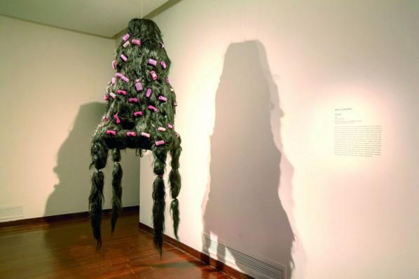 Mella Jaarsma, Shaggy, 2008; Hair, hair curlers, 130x72x55cm Singapore Art Museum collection