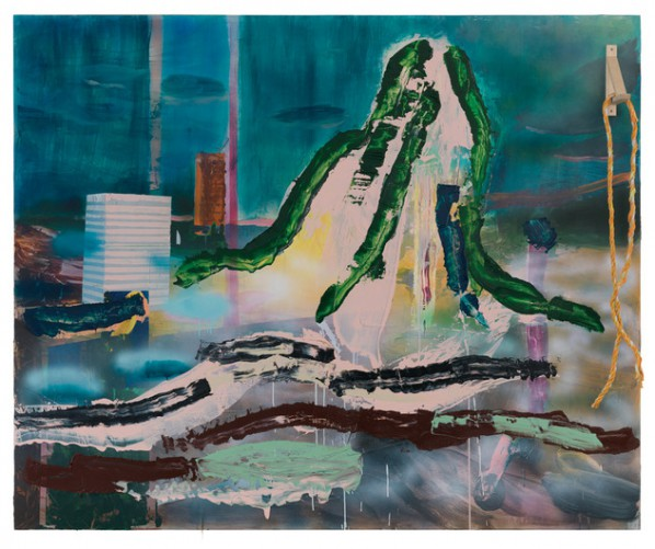 Qiu Xiaofei, Green and Ropes, 2013; Acrylic & Mixed Media on Canvas Mounted on Wood, 165x201x24cm