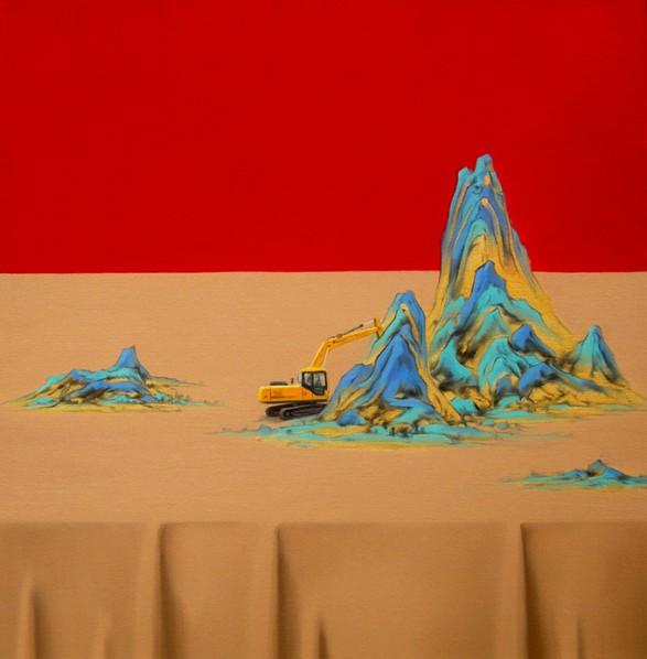 Shen Shubin, Landscape Scroll-Heavenly Creation No. 3, 2012; Oil on canvas, 60x60cm