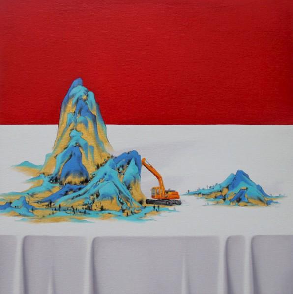 Shen Shubin, Landscape Scroll-Heavenly Creation No. 4, 2012; Oil on canvas, 60x60cm