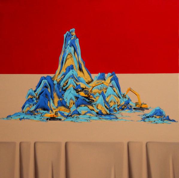 Shen Shubin, Landscape Scroll-Heavenly Creation No. 8, 2012; Oil on canvas, 60x60cm