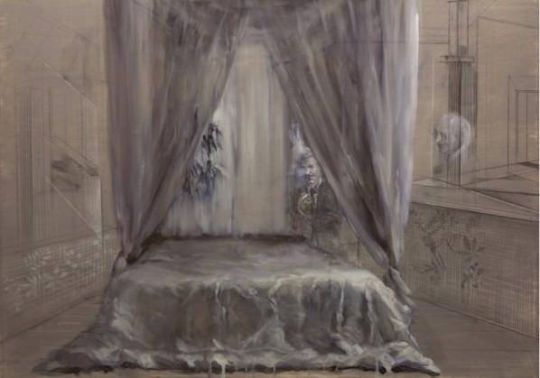 Site Fu, Lit, L'Homme dans las fumee, oil on canvas, 2013