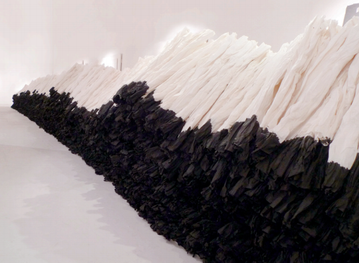 Work by Zhu Jinshi, 2014; Xuan paper and ink installation, dimensions variable