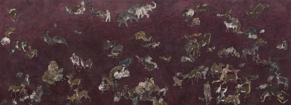 Yang Jiecang, Vilolet Land, 2013; Ink and mineral pigment on silk, mounted on canvas, 146 x 395cm