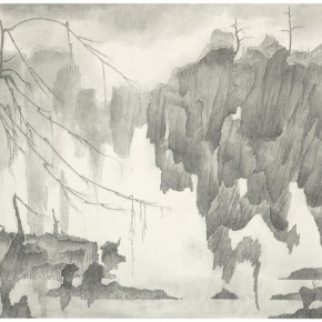 "10 Tang Hui, ""Shushi Valley No.2"", ink on paper, 130 x 71 cm, 2014"
