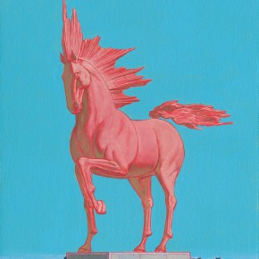 "100-Tang-Hui,-""Red-Horse"",-acrylic-on-canvas,-50-x-60-cm,-2009"