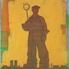 "122 Tang Hui, ""Statue of the Worker No.2"", acrylic on canvas, 120 x 100 cm, 2007"