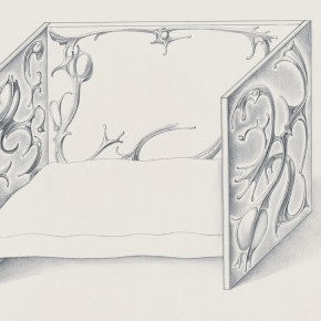 "137 Tang Hui, ""Tang Town Project - Draft of the Bedroom in Paris"", drawing on the paper, 24 x 32 cm, 2004"