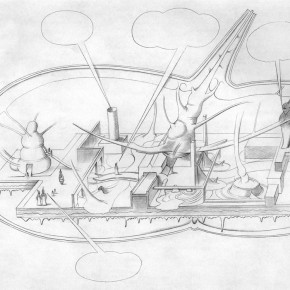 "175 Tang Hui, Drawing of the design of the ""Tang Town Project – Shanghai Biennial"""
