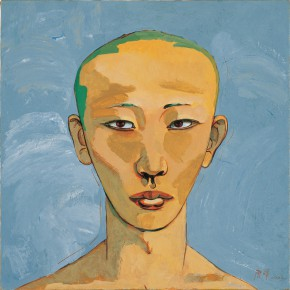 "182 Tang Hui, ""Protagonist Series No.2 – Pu Yi"", acrylic on canvas, 55 x 55 cm, 2000"