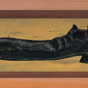 "222 Tang Hui, ""Factory of Shoe"", acrylic on board, 45 x 15 cm, 1997"