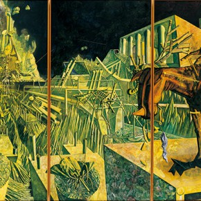 "235-Tang-Hui,-""Attacking-the-Time-and-Space-II"",-acrylic-on-canvas,-550-x-220-cm,-1995"
