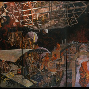 "242 Tang Hui, ""Attacking the Time and Space"", acrylic on canvas, 360 x 240 cm, 1991"