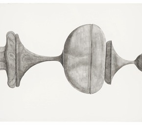 "57 Tang Hui, ""Shape of the Black No.2"", watercolor on paper, 328.5 x 79 cm, 2012"
