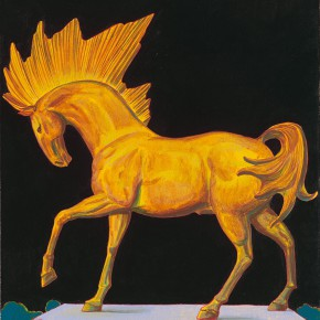 "99-Tang-Hui,-""Golden-Horse"",-acrylic-on-canvas,-50-x-60-cm,-2009"