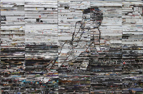 Li Qiang, Figure No. 3 I want money, 2013;  Books and aluminium sheet, 122cmx81cmx10cm