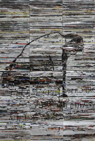 Li Qiang, Figure No.4, Please give me on yuan., 2013; Books and aluminium sheet, 122cmx81cmx10cm