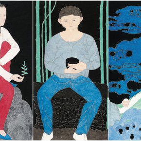 07 Liu Qi Once in a Lifetime 2014 Ink and color on paper 187×97cm×3 290x290 - Harmony in Diversity: Academic Exhibition of Qi She Arts Opening at The Hive Centre for Contemporary Art