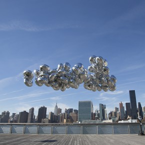 """Pan Ge A Cloud On Manhattan Sky Project No.1 Temporary Installation by Mylar balloon and Helium 36×36×180 Executed on 14th Nov 2013 Installation Photo Documentery Video © 2014 Pan Ge 290x290 - Group show of """"Somewhere Else"""" Exhibiting at Dekalb Gallery, Pratt Institute"""