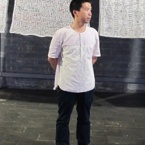 "Wang Lei stood in front of his work 290x290 - Group Exhibition of ""Jiang Qi 3"" on View at Red Gate Gallery"