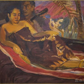 """02 Situ Qiao """"Coconut Trees at Dusk"""" oil on canvas 96 x 103 cm 1940 collected by CAFA Art Museum 290x290 - Painting With Tears – Love and Hate in Situ Qiao's Art World Opening at CAFAM"""
