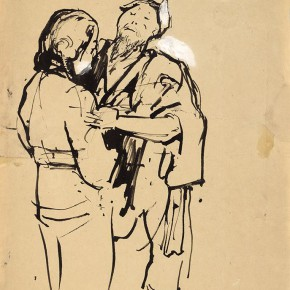"""02 Situ Qiao """"Put Down Your Whip Sketch No. 1 bamboo stick painting"""" 36 x 25 cm ink on paper 1940 collected by Xinjiang Art Museum 290x290 - """"Painting With Tears – Love and Hate in Situ Qiao's Art World"""": Interview with Curator Cao Qinghui"""