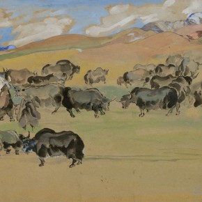 """03 Situ Qiao """"Yaks"""" gouache on board 29 x 37 cm 1944 collected by the artist's family 290x290 - Painting With Tears – Love and Hate in Situ Qiao's Art World Opening at CAFAM"""