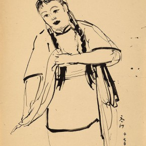 """04 Situ Qiao """"Put Down Your Whip Sketch No. 3"""" bamboo stick painting 36 x 26.5 cm ink on paper 1940 collected by Xinjiang Art Museum 290x290 - """"Painting With Tears – Love and Hate in Situ Qiao's Art World"""": Interview with Curator Cao Qinghui"""