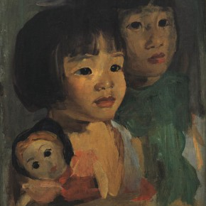 """04 Situ Qiao """"Two Daughters of the Artist Xiaoshuang and Xiaoyu"""" oil on canvas 1940 1941 50.2 x 39.3 cm collected by the artist's family 290x290 - Painting With Tears – Love and Hate in Situ Qiao's Art World Opening at CAFAM"""