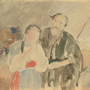 """05 Situ Qiao """"Put Down Your Whip Sketch No. 2"""" bamboo stick painting 26 x 20.5 cm watercolor on paper 1940 collected by Xinjiang Art Museum 290x290 - """"Painting With Tears – Love and Hate in Situ Qiao's Art World"""": Interview with Curator Cao Qinghui"""