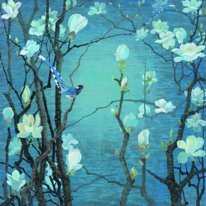 "17 Yuan Yunfu ""Magnolia Flowers Blooming"" heavy color 105.5 x 105 cm 1981 290x290 - Yuan Yunfu and ""Tsinghua University Art Group"" Works Invitational Exhibition"