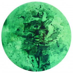 "Cao Jigang Green Corrosion 2007 diameter 200cm Tempera on linen 290x290 - The BRIC Art Space presents ""In the stillness between two waves of the sea"" featuring Chinese Contemporary Art"