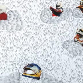 Li Fan Beyond the Clouds 1-5, 2000; collage of papercut, pen, 18×13cm