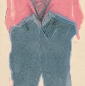 Li Fan, Border Town No. 9, 2005; acrylic on hemp paper, 300x90cm