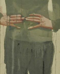 Li Fan, Dull and Heavy, 2004; watercolor, acrylic and hemp paper, 275x65cm