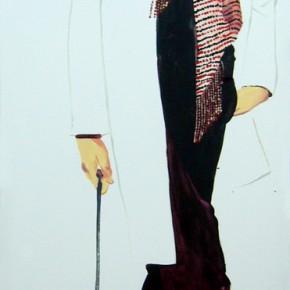 Li Fan, I like red, 2008; paint on linen, 90x250cm
