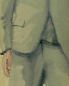 Li Fan, Waiting, 2004; watercolor and acrylic on hemp paper, 275x65cm