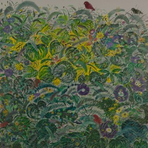 Shen Ling Autumn Wind 1 2014 Oil on canvas 200×200cm1 290x290 - Flowers and Birds: Shen Ling Solo Exhibition Opened at the Hive Center for Contemporary Art