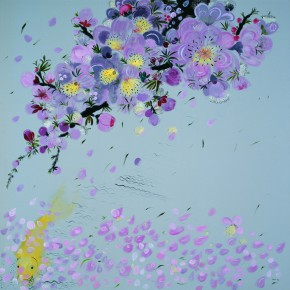 Shen Ling Fallen Flowers in Floating Water 2 2013 Oil on canvas 200×200cm1 290x290 - Flowers and Birds: Shen Ling Solo Exhibition Opened at the Hive Center for Contemporary Art