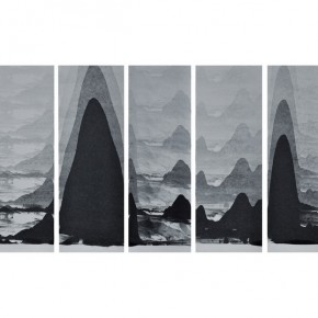 "Wen Le Rock Mountains and Water 2013 Printing ink on paper 150x50cm 290x290 - The BRIC Art Space presents ""In the stillness between two waves of the sea"" featuring Chinese Contemporary Art"