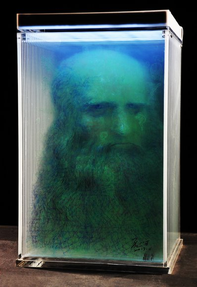 Xia Xiaowan, Sketch-Leonardo da Vinci No.2, 2013; special pencil, 24 tinted glass panels, ech 6 mm thick, 60.5x40.0cm(glass), 66.5x44x42cm(framed)