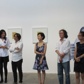"""01 From left to right assistant curator Wang Yiting curator Wu Hongliang artist Tongxi Xiaochan vice President of CAFA well known artist Xu Bing Liu Chen 290x290 - """"Today I Blossom – Tongxi Xiaochan's Unrestrained Poetry and Painting"""" Opened at 798 Art Center"""