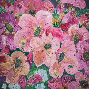 """13 Shen Ling """"Grieved Over the Years Flowers Are Moved to Tears No.4"""" 200 x 200 cm 2012 290x290 - Shen Ling: Artistic Conception of Expressive Oil Painting"""