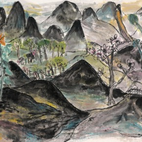 """27 Tongxi Xiaochan """"This or That"""" 95 x 177 cm 2008 290x290 - """"Today I Blossom – Tongxi Xiaochan's Unrestrained Poetry and Painting"""" Opened at 798 Art Center"""