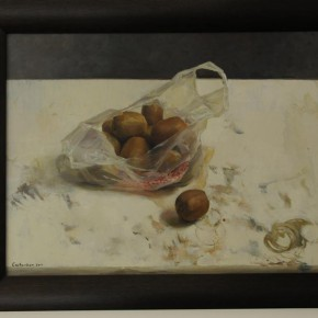 """33 Cai Haokun """"Still Life•Kiwi Fruit"""" oil on canvas 290x290 - From Ignorance to Ignorance – Group Exhibition of Six Postgraduates from the Department of Oil Painting"""